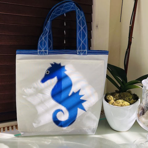 Blue Seahorse Everyday Tote Sail Bag - made from recycled sails