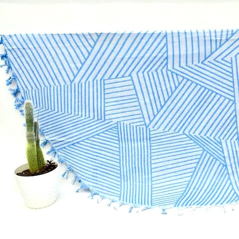 Blue Geometric - Organic Turkish Round Beach Towel