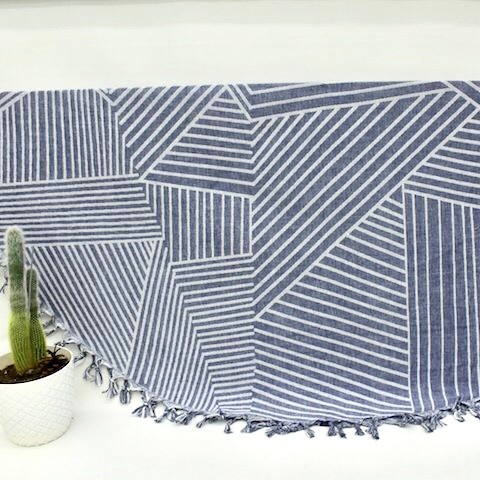 Navy Geometric - Organic Turkish Round Beach Towel