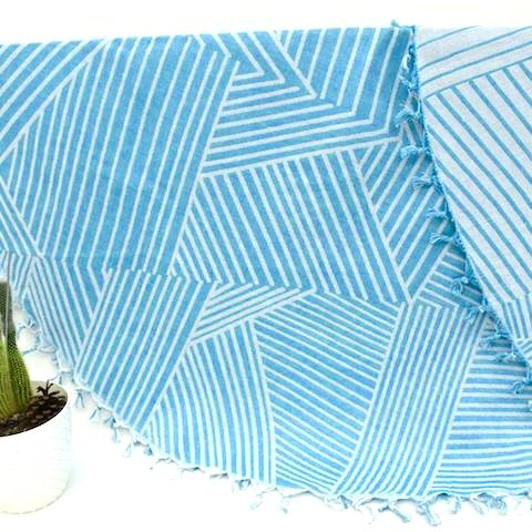 Turquoise Geometric - Organic Turkish Round Beach Towel