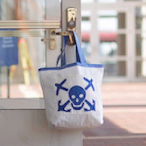 Blue Skull and Bones Recycled Sail Bag - The Weekender