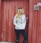 Anchor Print Cowl Neck Sweater