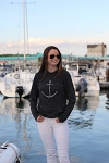 Anchor Print Eco-Jersey Loose Fit Hoodie