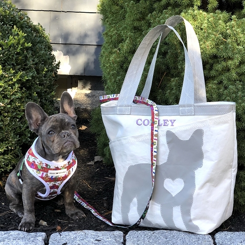 Custom Dog Tote - made from recycled sails