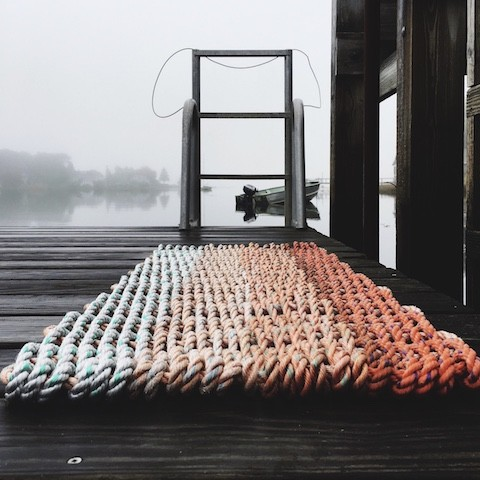 Recycled Lobster Rope Door Mat - Hey Ombre Orange