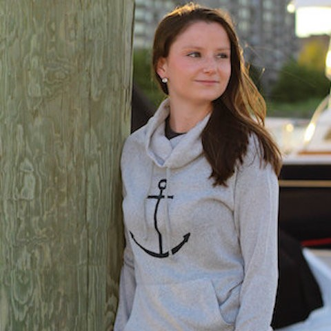 Black Anchor Lightweight Cowl Neck Sweater