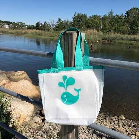 Teal Whale Sail Bag  - Every Day Tote