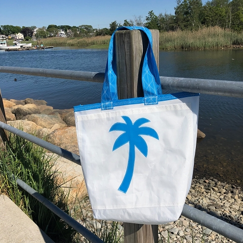 Light Blue Palm Tree Sail Bag  - Every Day Tote
