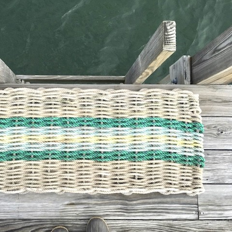 Recycled Lobster Rope Door Mat - Opechee Sunrise