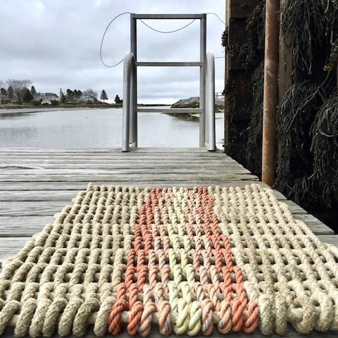 Recycled Lobster Rope Doormat - Opechee Sunset