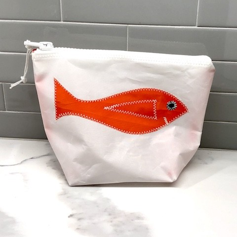 Orange Fish Sunblock/Accessory Bag - made from recycled sails