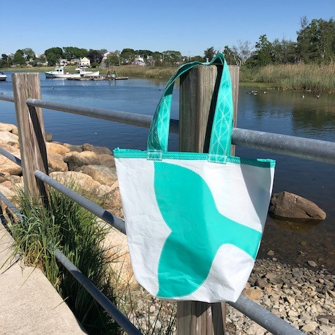 Teal Whale Tail Sail Bag  - Every Day Tote