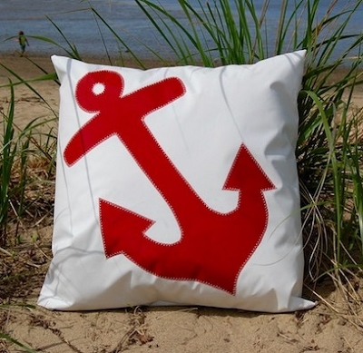 Red Anchor Indoor -Outdoor Pillow