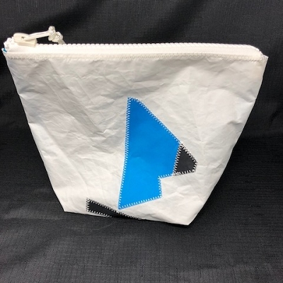Blue Crooked Sail Boat Sunblock Bag