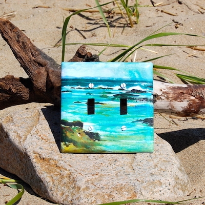 Double Scenic Light Switch Plate - made from Recycled Material
