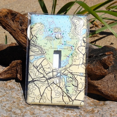 Single Nautical Map Light Switch Plate - made from recycled material