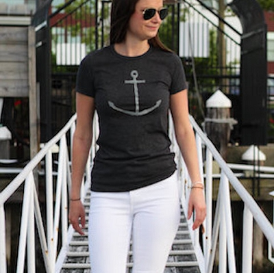 Anchor Print - Women's Fitted Tee