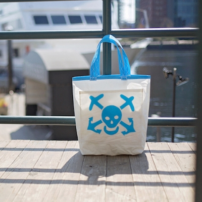 Light Blue Skull and Bones Sail Bag - Beach Getaway