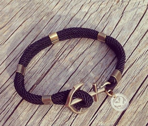 New Haven Anchor Bracelet -Navy Blue