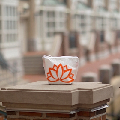 Orange Lotus Flower Sunblock Bag -made from recycled sails