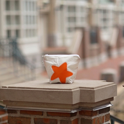 Orange Starfish Zippered Sunblock Bag