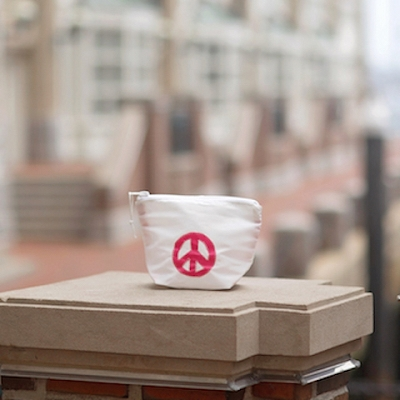 Pink Peace Sign Zippered Sunblock Bag