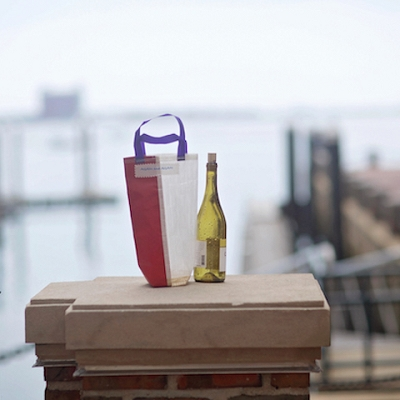 Red and Purple Beverage Gift Bag - made from recycled sails