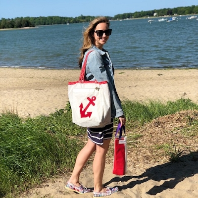 Anchor Sail Bag -Everyday Tote - Red or Blue