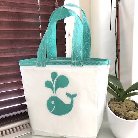 Happy Whale Sail Bag  - Every Day Tote Teal