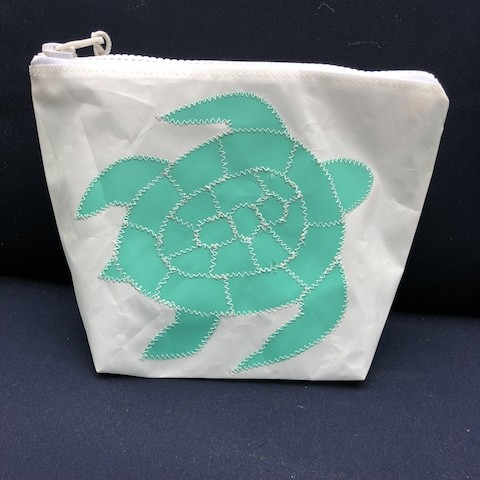 Teal Sea Turtle Zippered Sunblock Bag