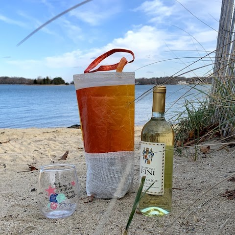 Orange Ombre Beverage Gift Bag - made from recycled sails