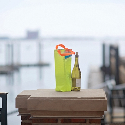 Yellow and Teal Beverage Gift Bag - made from recycled sails