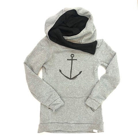 Anchor Print Cowl Neck Hooded Sweatshirt