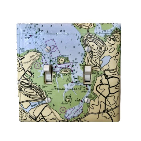 Double Nautical Map Light Switch Plate  -made from recycled material