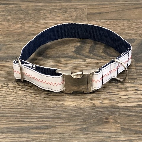Brant Point Blue Recycled Sail Dog Collar