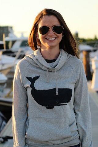 Whale Print Cowl Neck Sweater