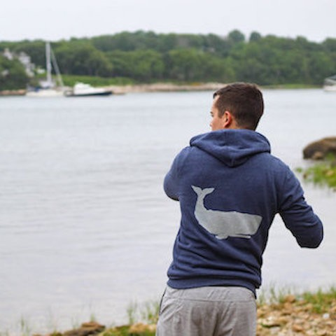 Whale Print -Zip Hooded Sweatshirt