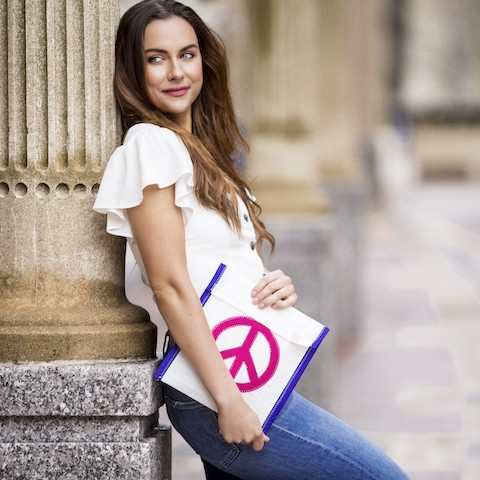 Pink Peace Sign -Blue Trim Accessories Pouch