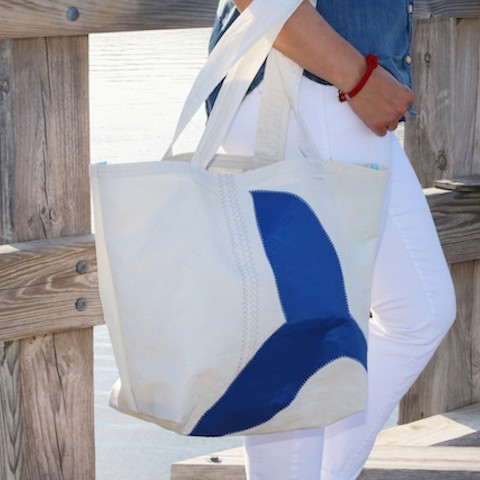 Whale Tail Sail Bag  - Every Day Tote Blue or Teal