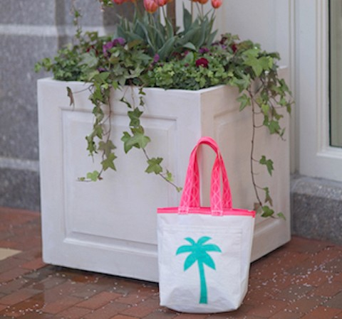 Palm Tree Sail Bag  - Every Day Tote Teal, Light Blue, Teal (pink handles)