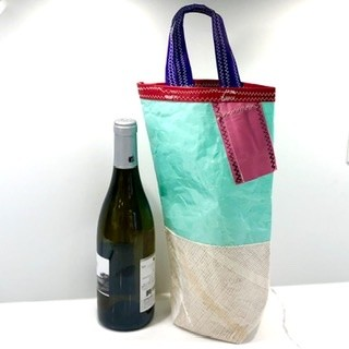 Aqua, Pink  and White Wine Carrier