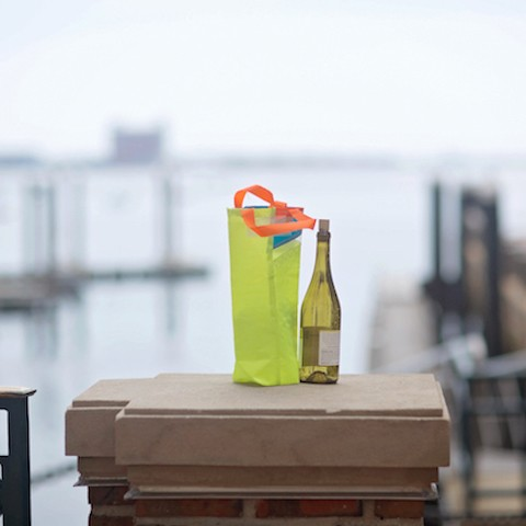 Yellow and Teal Wine Carrier
